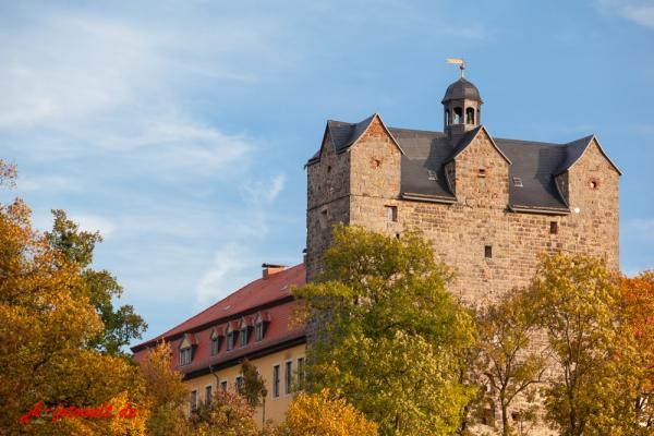 Schlosspark mit dem Schloss Ballenstedt im Herbst