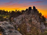 Teufelsmauer Harz bei Blankenburg im Sonnenuntergang
