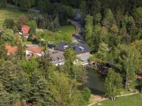 Blick vom Nonnenfelsen auf das Hotel Gondelfahrt