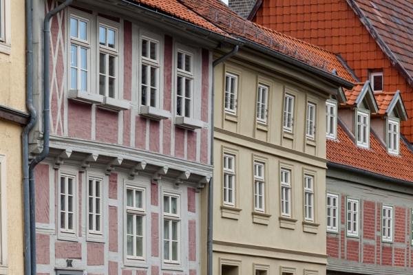 Welterbestadt Quedlinburg Straße mit Fachwerkhäusern