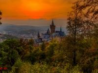 Schloss Wernigerode Harz im Sonnenuntergang-2