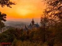 Schloss Wernigerode Harz im Sonnenuntergang-3