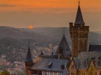Schloss Wernigerode Harz im Sonnenuntergang-5